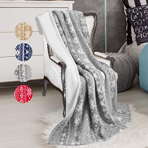 Lancashire Textiles Super Soft Grey//Red Stag Plush Winter Christmas Festive Xmas Warm Fleece Wrap Throw Blanket 130cm x 180cm
