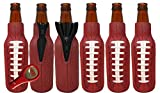 Beer Bottle Sleeves (6 Pack) Coolies With Football Design, Made Of Neoprene & Fit 12 Ounce Glass Beer Bottles Includes Bottle Opener