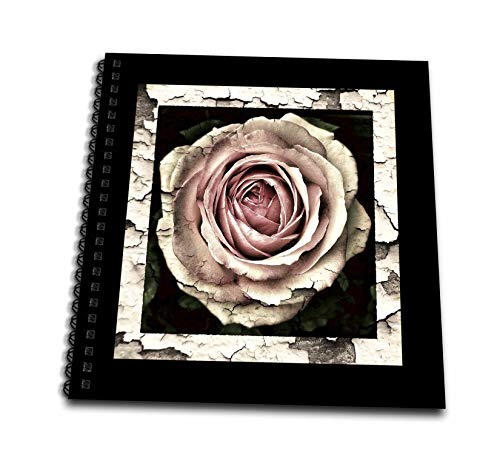 3dRose lens Art by Florene - Vintage Floral Art - Image of Pink Cabbage Rose In Cracked Aged Wood Frame - Drawing Book 8 x 8 inch (db_309482_1) ()