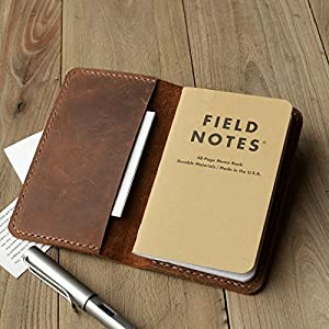 Leather Journal Cover for Moleskine Cahier Notebook Pocket size 3.5″ x 5.5″ Field Notes Cover Vintage Refillable Notepad Handmade
