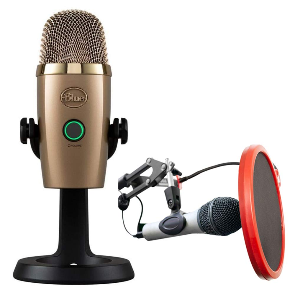 BLUE MICROPHONES Yeti Nano Premium USB Microphone Cubano Gold (489) with Deco Gear Universal Pop Filter Microphone Wind Screen with Goose Neck Mic Stand Clip by Blue Microphones (Image #1)