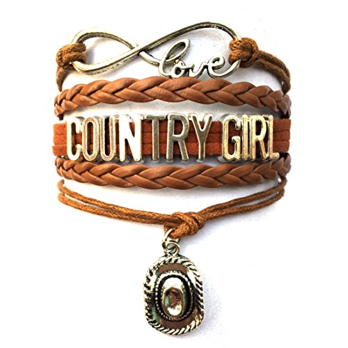 DOLON Infinity Love Country Girl Bracelet-Southern Cowboys Hat Charm Girls Gift