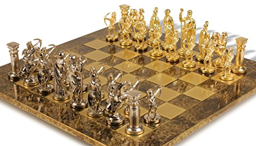 Manopoulos Archers Chess Set - Gold-Silver - Brown Board