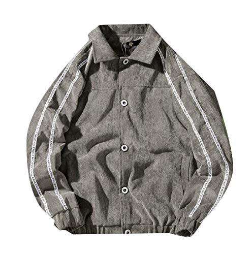 Long Mens Down Corduroy XINHEO Sleeve Button Grey Lapel Ribbon Jacket qnawCCxIH