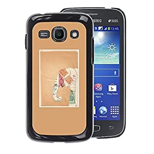 A-type Arte & diseño plástico duro Fundas Cover Cubre Hard Case Cover para Samsung Galaxy Ace 3 (Brown Elephant Art Paper Frame)