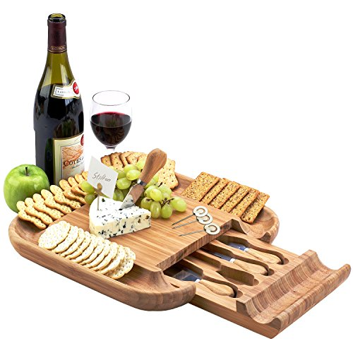 Picnic at Ascot Genuine Original Bamboo Cheese Board with 4 Cheese Tools in a Slide Out Hidden Drawer- Designed & Quality Assured in California