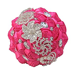 Memoirs- Wedding Bouquet Exotique Gold Jewelry Brooch Pearls Handhold Satin Ribbon Roses Crystals Bridal Bouquet Artificial,3 55