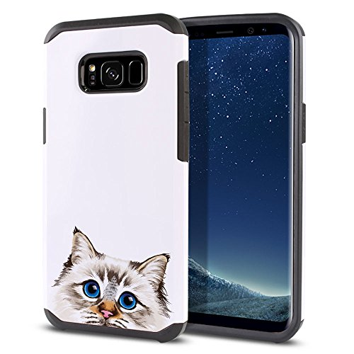 FINCIBO Case Compatible with Samsung Galaxy S8 G950 5.8 inch, Dual Layer Hard Back Hybrid Protector Case Cover Anti Shock TPU for Galaxy S8 (NOT FIT S8+ Plus) - Seal Lilac Tabby Point Birman Cat
