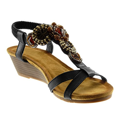 Angkorly Zapatillas Moda Sandalias Mules Correa de Tobillo Slip-On Mujer Joyas Fantasía Correas Cruzadas Plataforma 5 cm Negro