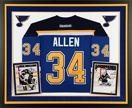Jake Allen St. Louis Blues Deluxe Framed Autographed Blue Reebok Premier Jersey - Fanatics Authentic Certified (Authentic Jersey Reebok Blue Autographed)