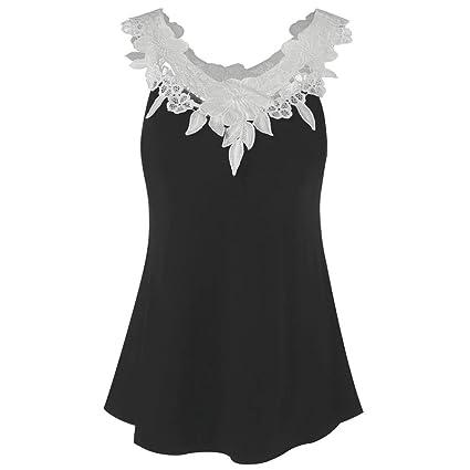 Tops de encaje,Ba Zha Hei Mujer Moda Redondo Algodón T-Shirt Señoras Impresion