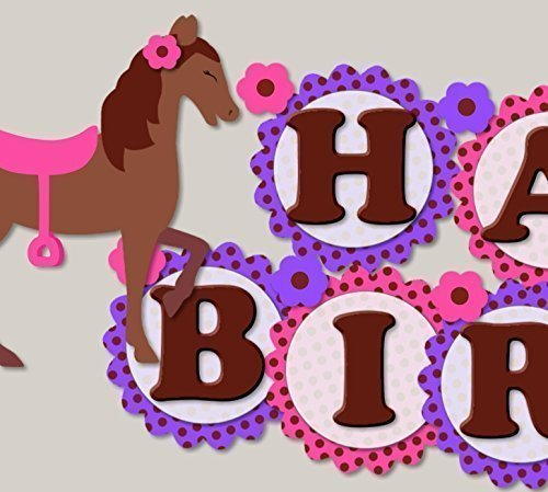 Personalized My Little Pony Horse Birthday Party Decoration Supplies for Girl - Garland Bunting Banner - Pink and Purple - Handmade in USA - -
