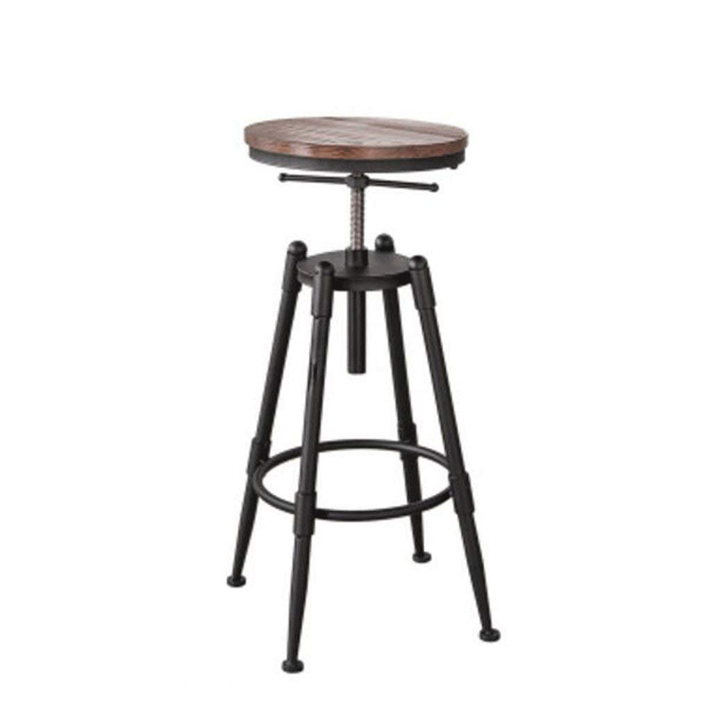A Wooden Board DYR Adjustable Seat Height (68-90 cm) Solid Wood Iron Barstool American Retro Bar Chair High Chair Coffee Chair Lounge Chair (color  Wooden Board, Size  B)