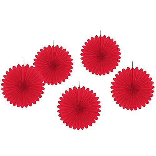 Tissue Paper Fan Decoration, Hanging Party Tissue Fans for Baby Shower Party Decorations 12 Inch, Set of 5 - Tissue Fan Red