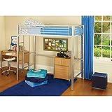 Twin Loft Bed Metal Bunk Beds Boys Girls Teens Kids Bedroom Furniture Dorm (silver)