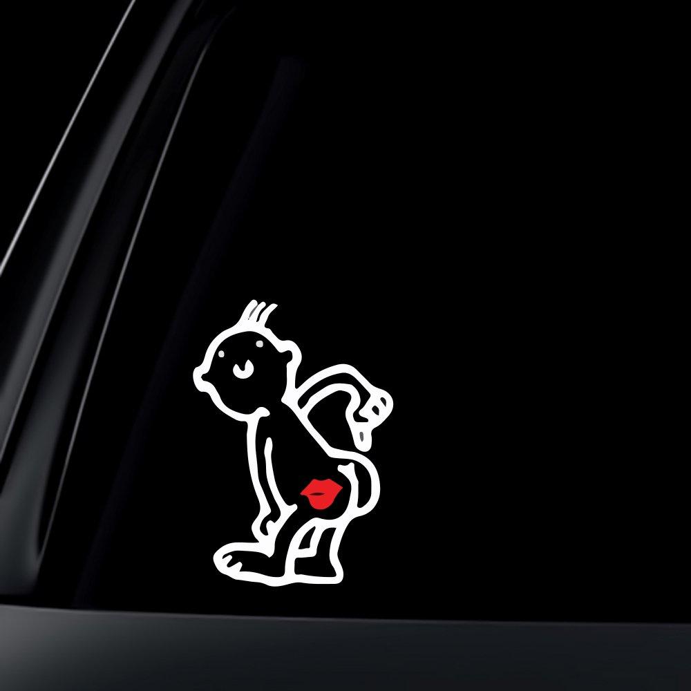 Amazon com world design kiss my ass car decal sticker 6 white automotive