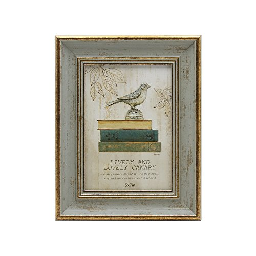 SUMGAR Vintage Picture Frame 5x7 Antique Photo Frames in Green and Gold -Made of Recycled PS and Glass Wide Mounting for Desk and Wall ()