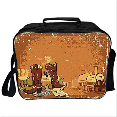(Western Lunch Box Portable Bag,Grungy Display of Locomotive Traditional Boots Animal Skull Rope Hat Decorative for Kids Boys Girls,10.6