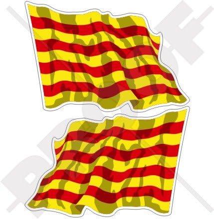 CATALUÑA Bandera Ondeante Catalana ESPAÑA Español (120mm ...