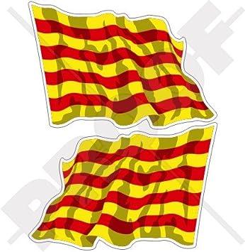 CATALUÑA Bandera Ondeante Catalana ESPAÑA Español (120mm) Pegatinas de Vinilo Adhesivos, Stickers, Calcomanias x2: Amazon.es: Jardín