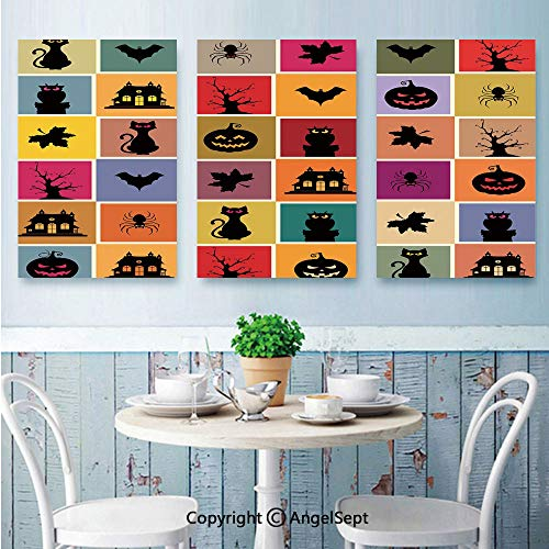 AngelSept 3 Piece Canvas Wall Art,Bats Cats Owls Haunted Houses in Squraes Halloween Themed Darwing Art Decorative,Framed Furniture Decoration,16