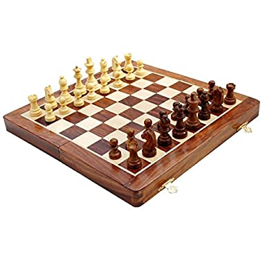 "HIGH QUALITY - 12x12"" Premium Chess Set on Sale - SouvNear Wooden Chess Set with Bag - Folding Magnetic Travel Chess Board Game Handmade in Premium Quality Rosewood with Storage for Chessmen"