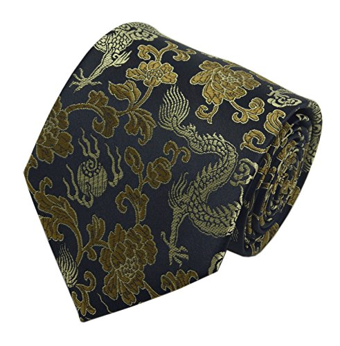 (Mens Black Yellow Gold Tie Dragon Business Prom Necktie Perfect for Gift Giving)