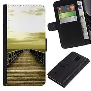 Paccase / Billetera de Cuero Caso del tirón Titular de la tarjeta Carcasa Funda para - Golden Brown Dock Sea Sun Summer - Samsung Galaxy Note 4 SM-N910