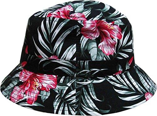 Black Floral Print Bucket Hat Hawaiian Boonie Cap (Hawaiian Print Sun Hat)