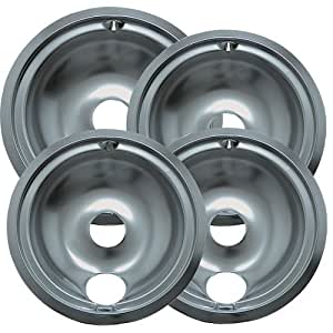 Range Kleen 119204XZ GE Drip Pans Containing 3 Units 119B, 1 Unit 120B, Chrome