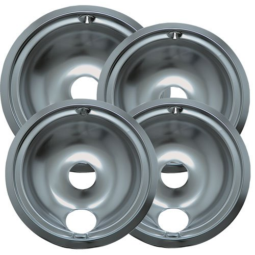 Range Kleen 119204XZ Style B Chrome Drip Pans Containing 3 small Units 119A, 1 large Unit 120A