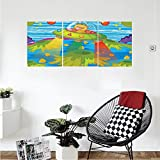 Liguo88 Custom canvas Outer Space Decor For Kids Scary Monster in Ufo on Planet Solar System Galaxy Funky Back Wall Hanging for Bedroom Living Room Green Blue