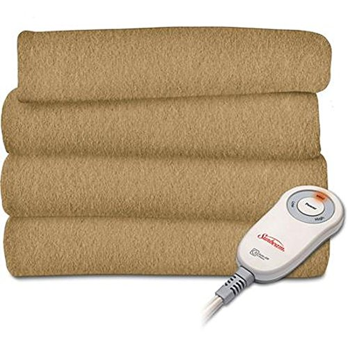Sunbeam Fleece Heated Electric Throw Blanket Electric Acorn Tan Warming