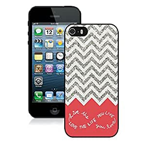 Design for You Colorful Chevron Pattern Live the Life You Love Iphone 5 5s Case Black Cover