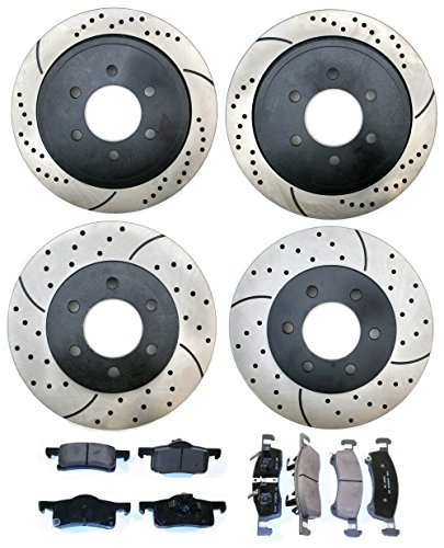 Prime Choice Auto Parts PERFQUAD0164 Set of 4 Performance Drilled and Slotted Rotors with 8 Ceramic Pads