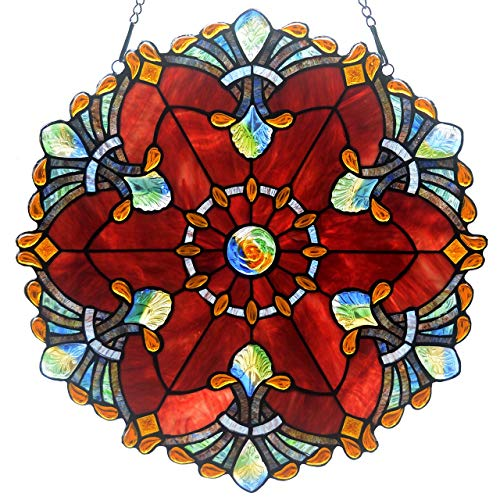 - Bieye W10041 Baroque 18 inch Tiffany Style Stained Glass Window Panel with Chain, Red