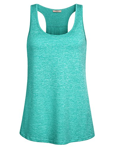 Miusey Gym Tops Racerback Design Round Neck Sleeveless Army Camouflage Yoga Sports Stretchy Lightweight Comfy Breathable Cool Workout Tank Green M by Miusey (Image #3)