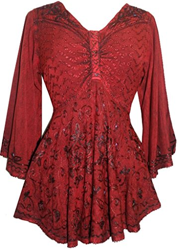 Agan Traders 116 B Medieval Butterfly Bell Sleeve Flare Blouse (Burgundy, 2X)