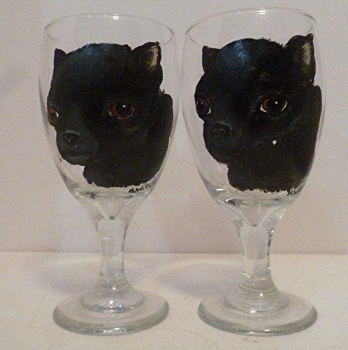 Black Chihuahua dog Ice Tea Glasses set of 2