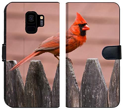 Samsung Galaxy S9 Flip Fabric Wallet Case Image of Bird Nature Cardinal Wildlife Male red Wing Avian Feathers Feeder Birds Backyard Songbird Perched Winter