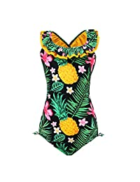 qyqkfly Girls'Pineapple Daisy Beach Sport 1 Piece Adjustable Bathing Suit Modest Ruffle 5Y-15Y Swimsuit(FBA)
