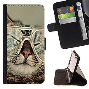 Momo Phone Case / Flip Funda de Cuero Case Cover - Gato Gafas Slpeeping divertido del arte del retrato - Sony Xperia M2