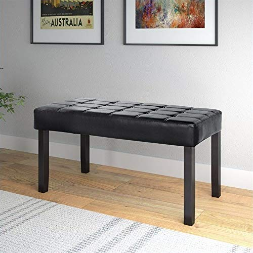 CorLiving California 24 Panel Bench in Black Leatherette, Black