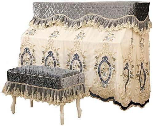 ピアノ保護カバー ベンチカバー付き刺繍クラフトレースの布ピアノタオルアップライトピアノダストカバーするための標準的な縦型ピアノ (色 : グレー, サイズ : 58x38cm)