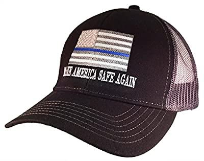 Thin Blue Line American Flag Make America Safe Again Embroidered Trucker Mesh Hat