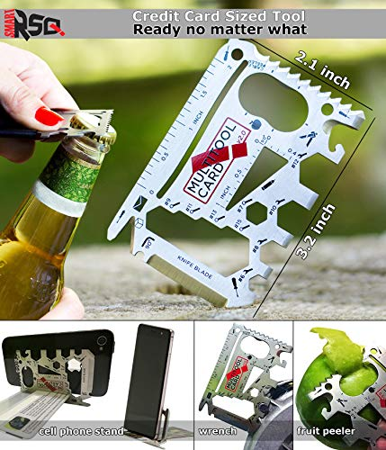 37-in-1 Black Wallet Multitool Card Gift Set | Cool Gadgets for Men/Gifts for Men, Dads, Husbands, Groomsmen, Campers…