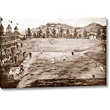 "California League Baseball Grounds by Vintage Sports - 13"" x 20"" Gallery Wrapped Giclee Art Print on Canvas - Ready to Hang"