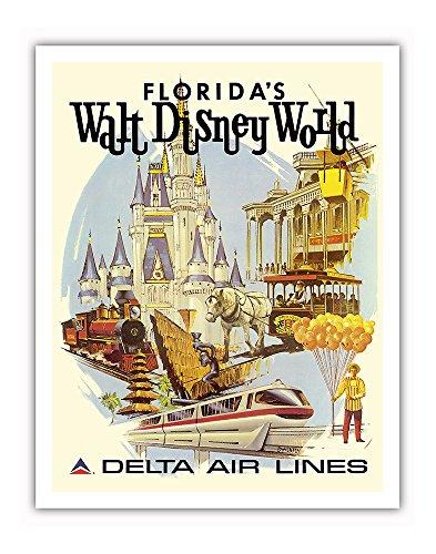 Florida's Walt Disney World - First Year of Operation - Delta Air Lines - Vintage Airline Travel Poster by Daniel C. Sweeney c.1971 - Fine Art Print - 11in x 14in (Vintage Disney Walt World)