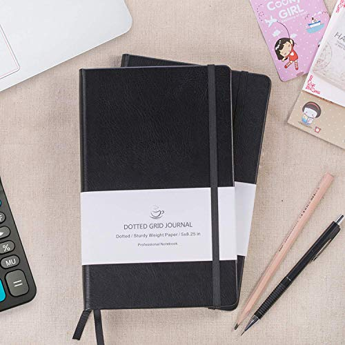 Dotted Grid Notebook/Journal - Dot Grid Hard Cover Notebook, Premium Thick Paper with Fine Inner Pocket, Black Smooth Faux Leather, 5''×8.25'' Photo #6