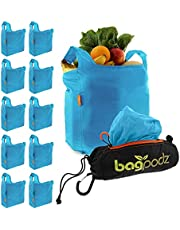 BadPodz Reusable Grocery Shopping Bags and Pouch Storage System (Contains 10 bags) -Caribbean Blue